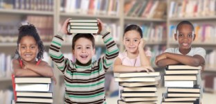 Four children in the library