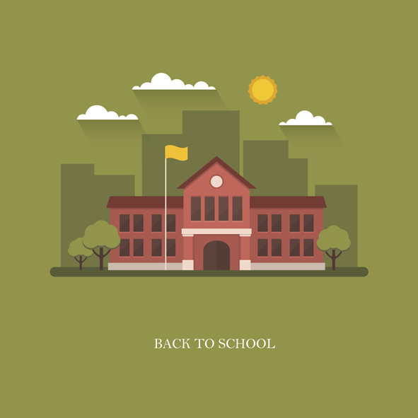 """Cartoon image of a school on a green background clouds and the sun and it says """"Back to School"""" underneath"""