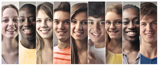 9 different portraits of happy looking, diverse teens stitched together side-by-side into one image