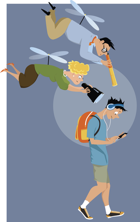 A cartoon of a male teen with ADHD wearing headphones walking and looking his phone while his parents which are drawn like helicopters are flying above him and spying through telescopes at his phone to show helicoptering instead of scaffolding parenting