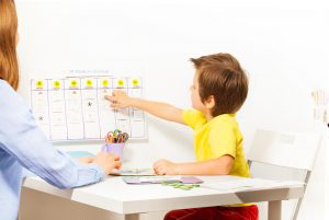 A young boy with ADHD sitting at a table and pointing his finger at a dry erase calendar in a classroom with a teacher