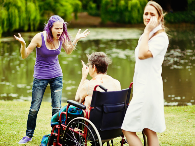 Neurodiverse family conflict outside by a pond, a teen yelling angrily at parent in wheelchair while the other parent looks away upset