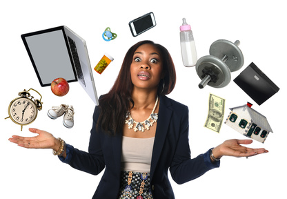 A person standing with her arms out to the side, palms facing up like she is overwhelmed and not sure what do. Her eyes are wide open in overwhlem. In an arch circling around her body is a bunch of objects floating in the air resembling what's on her mind - a clock, computer, baby bottle, house, dollar and more.