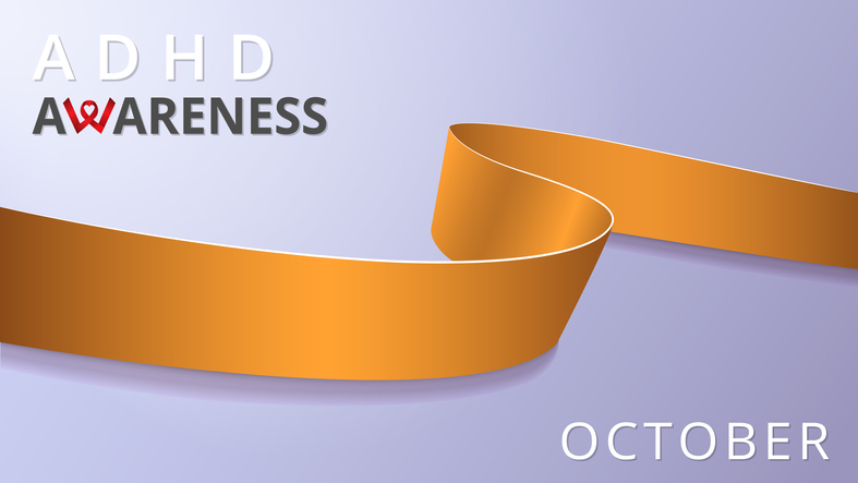 """ADHD Awareness graphic, text says """"ADHD Awareness"""" on the top and """"October"""" on the bottom against a purple background with a large gold ribbon design flowing across the middle."""