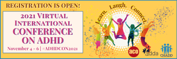 2021 Virtual International Conference on ADHD graphic promo: November 4-6, #ADHDCON2021